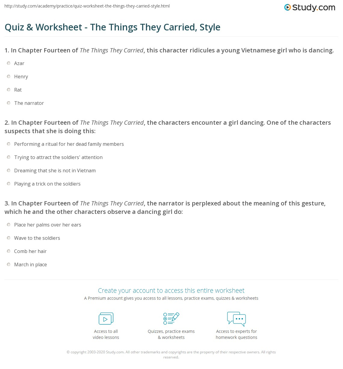 quiz worksheet the things they carried style com print the things they carried chapter 14 style summary worksheet