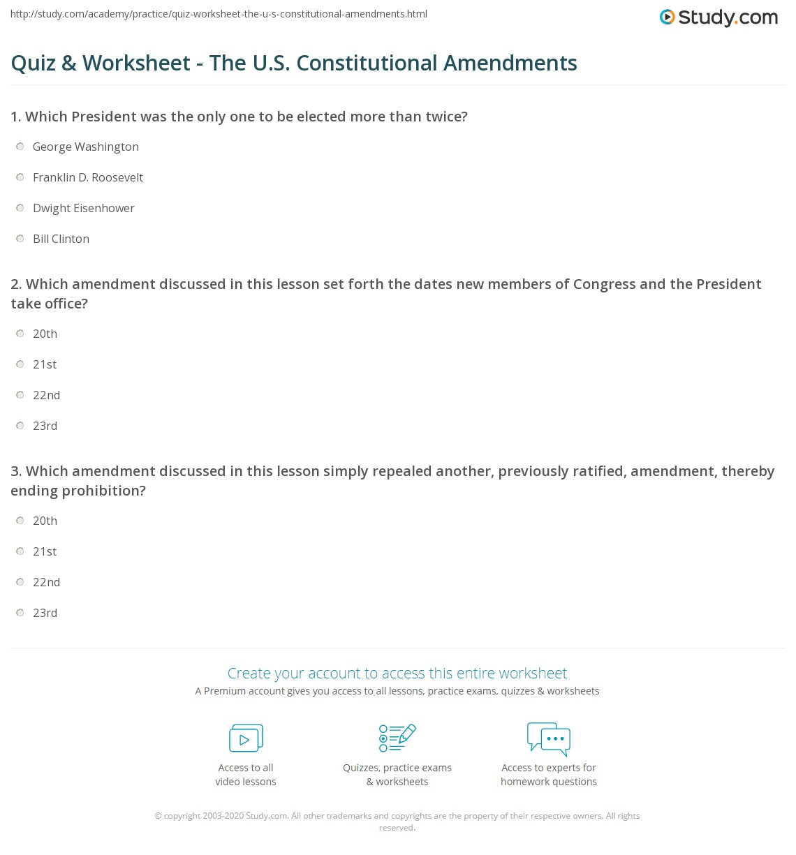Worksheets Constitutional Amendments Worksheet quiz worksheet the u s constitutional amendments study com print 20th 21st 22nd 23rd worksheet