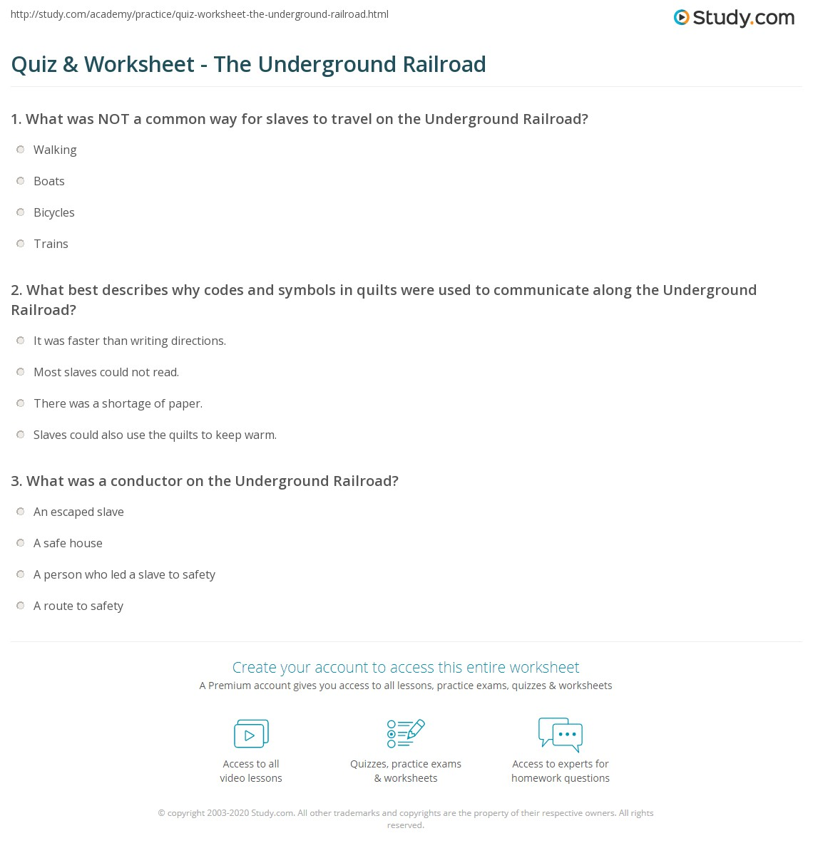 Quiz Worksheet The Underground Railroad – Underground Railroad Worksheet