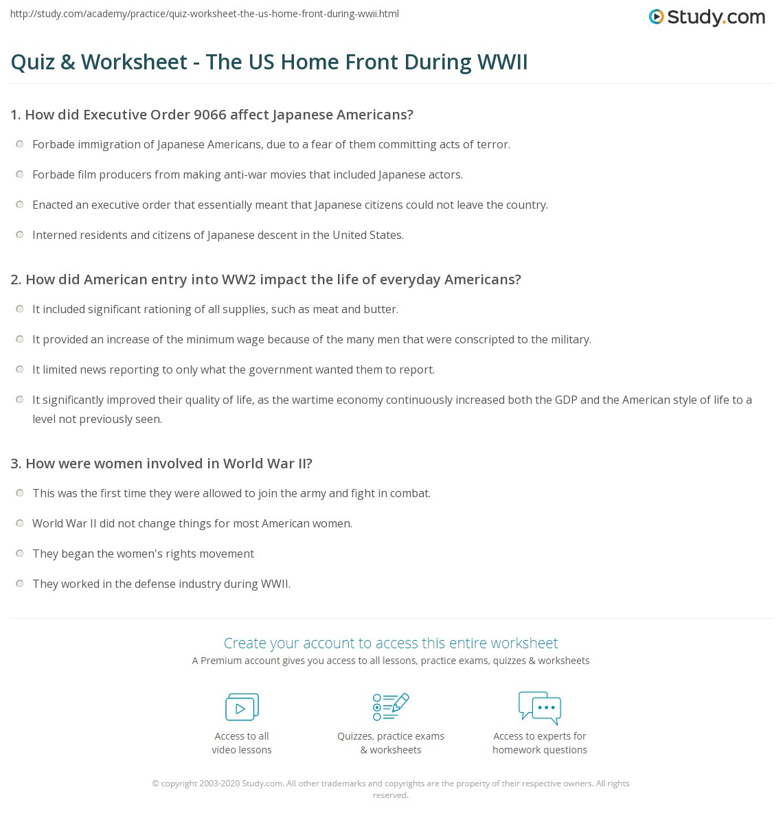 {Quiz Worksheet The US Home Front During WWII – Wwii Worksheets