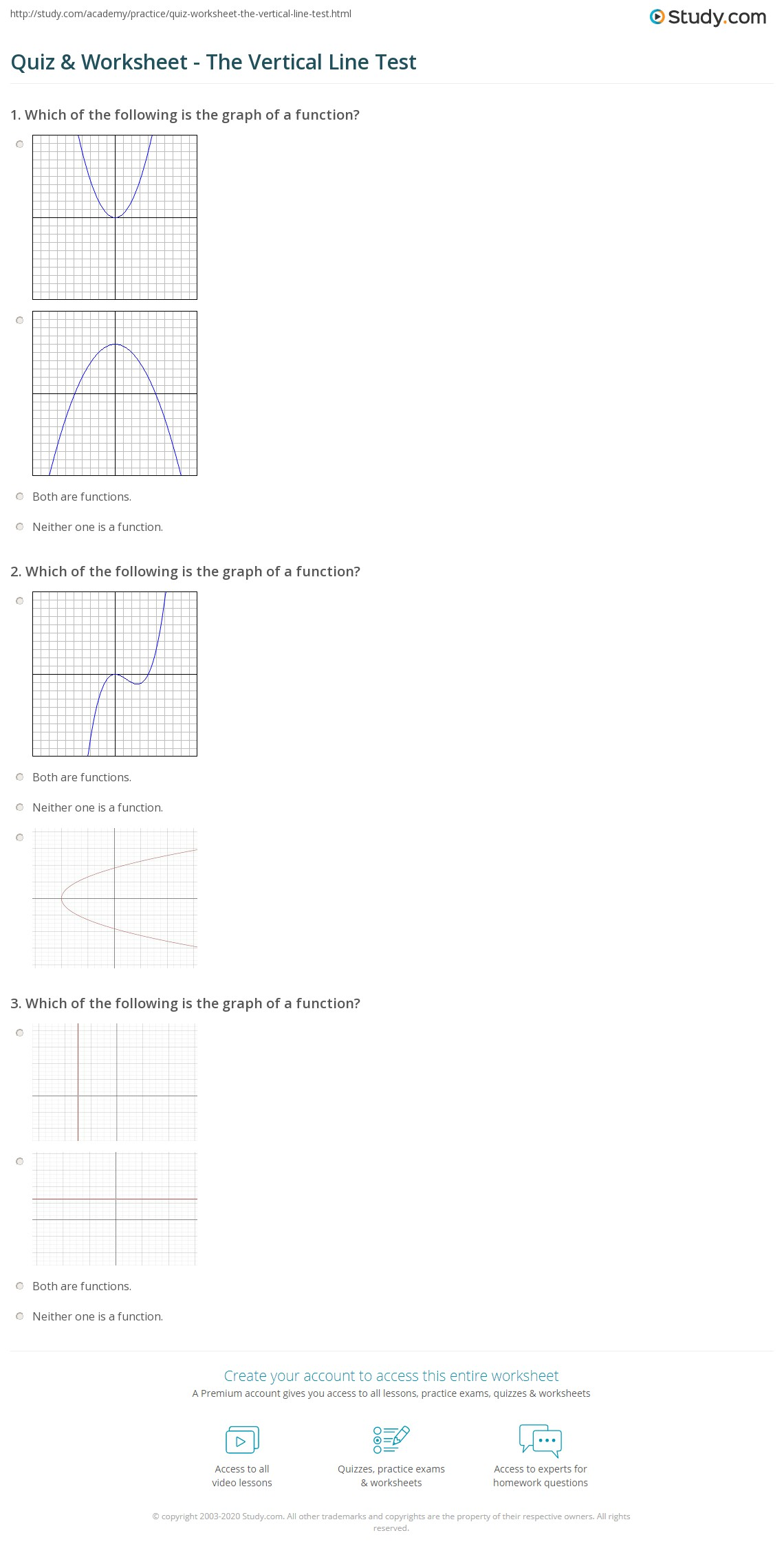 {Quiz Worksheet The Vertical Line Test – Vertical Line Test Worksheet