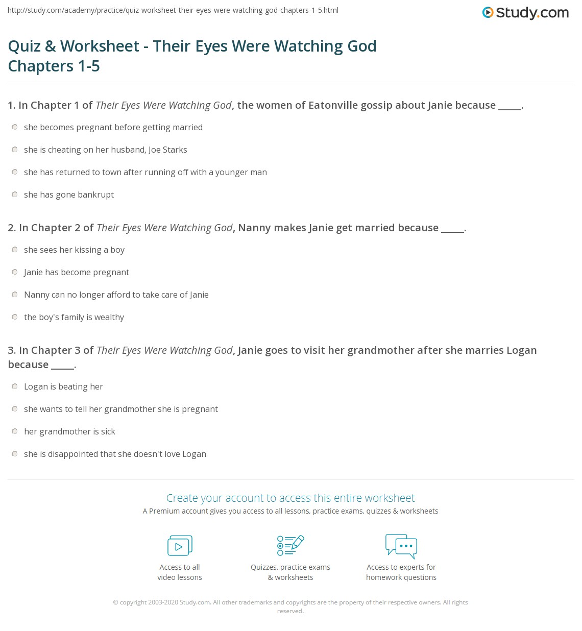 eyes were watching god essay questions The pear trees, bees, and the horizon occur in several instances in their eyes were watching god discuss the significance of these symbols and metaphors in the novel discuss the significance of these symbols and metaphors in the novel.