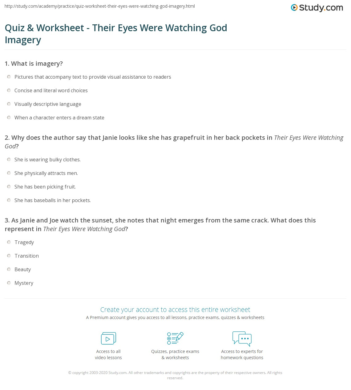 Uncategorized Imagery Worksheet quiz worksheet their eyes were watching god imagery study com print worksheet