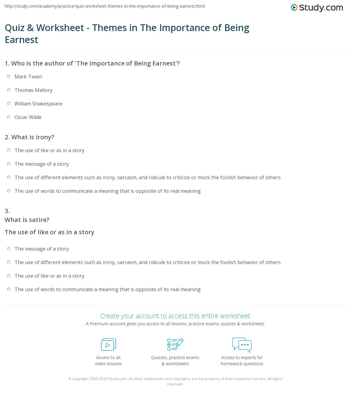 quiz worksheet themes in the importance of being earnest print the importance of being earnest irony satire themes worksheet
