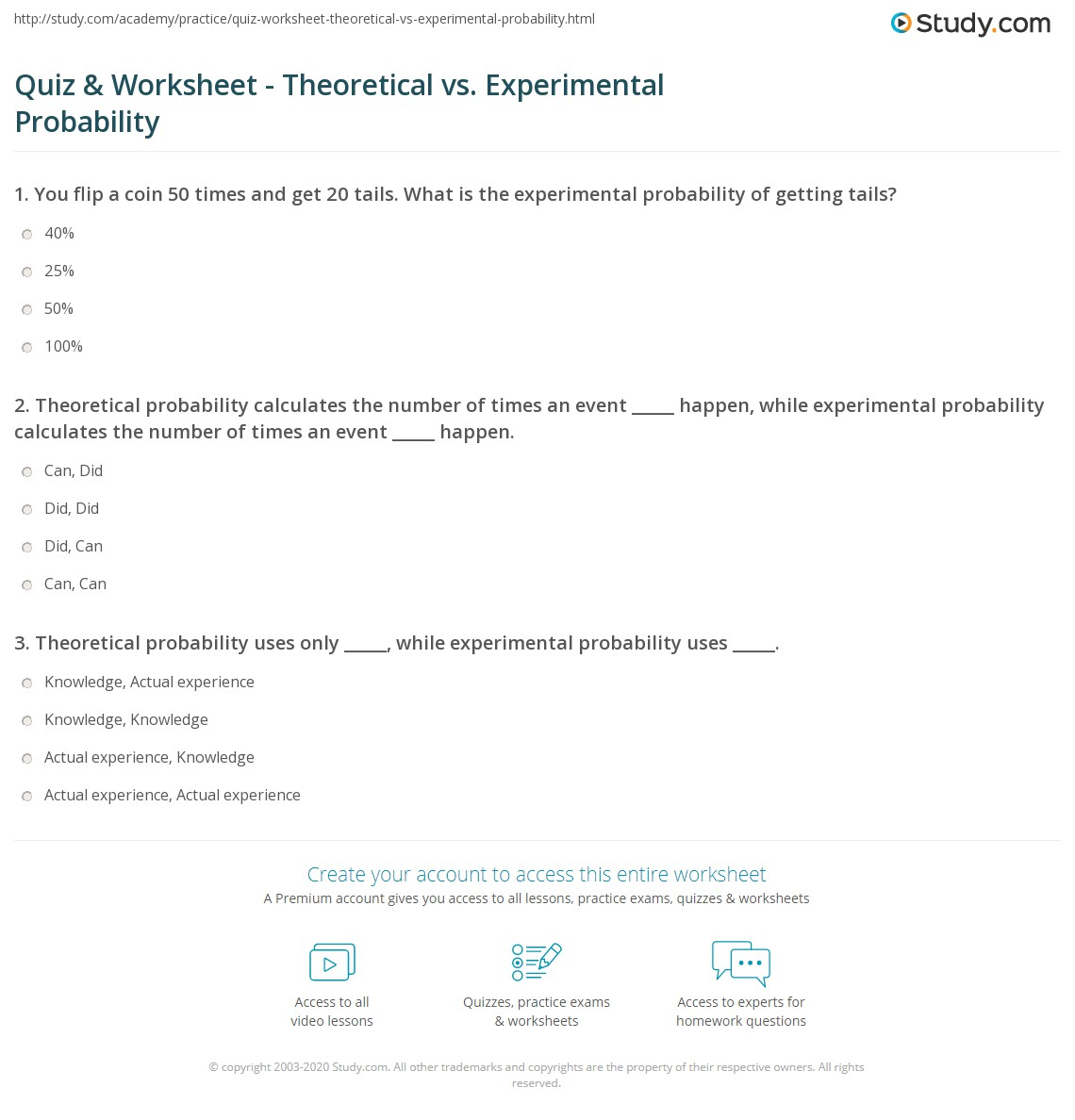 Quiz Worksheet Theoretical vs Experimental Probability – Experimental Probability Worksheets