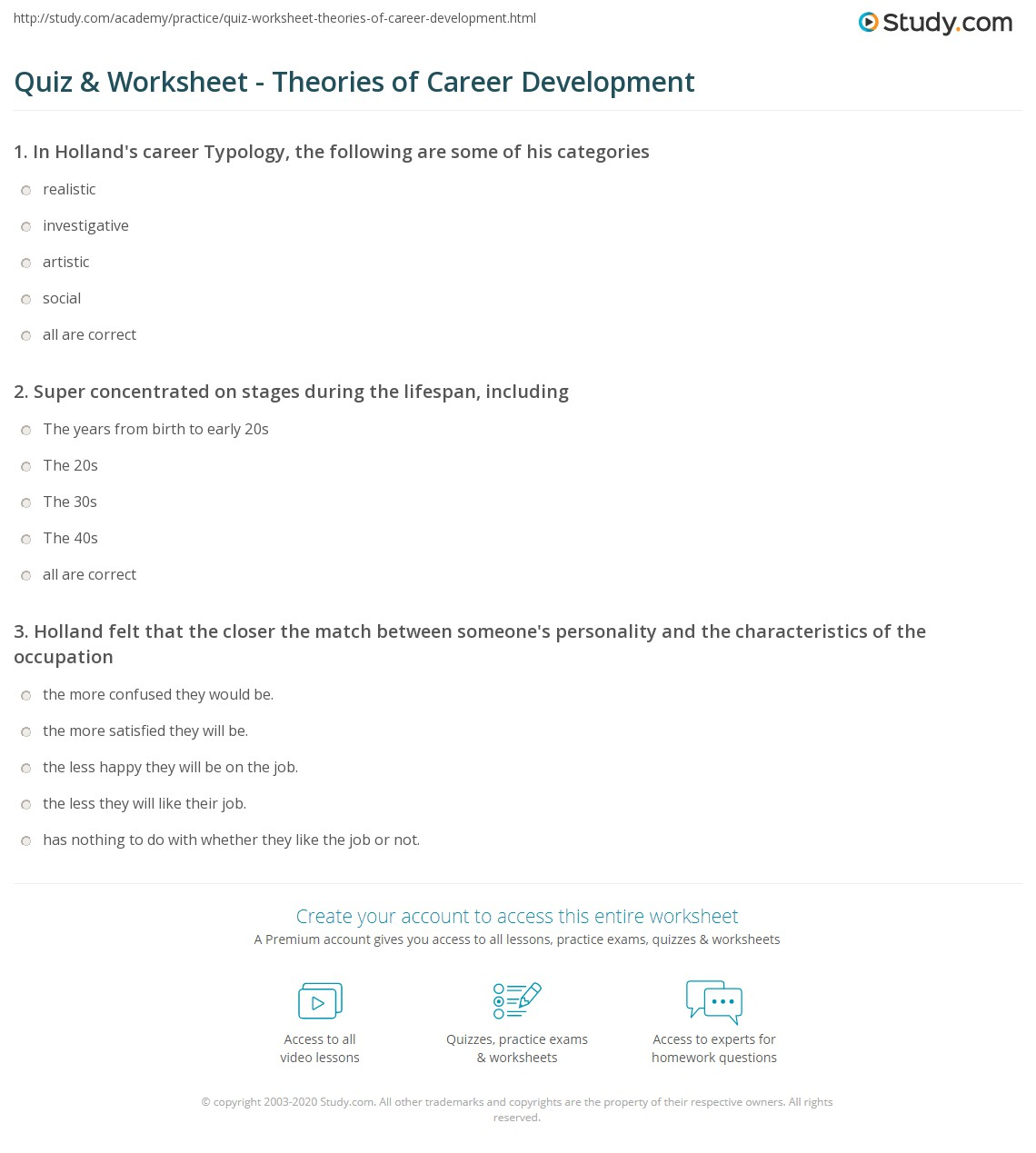 quiz worksheet theories of career development com print career development theories worksheet