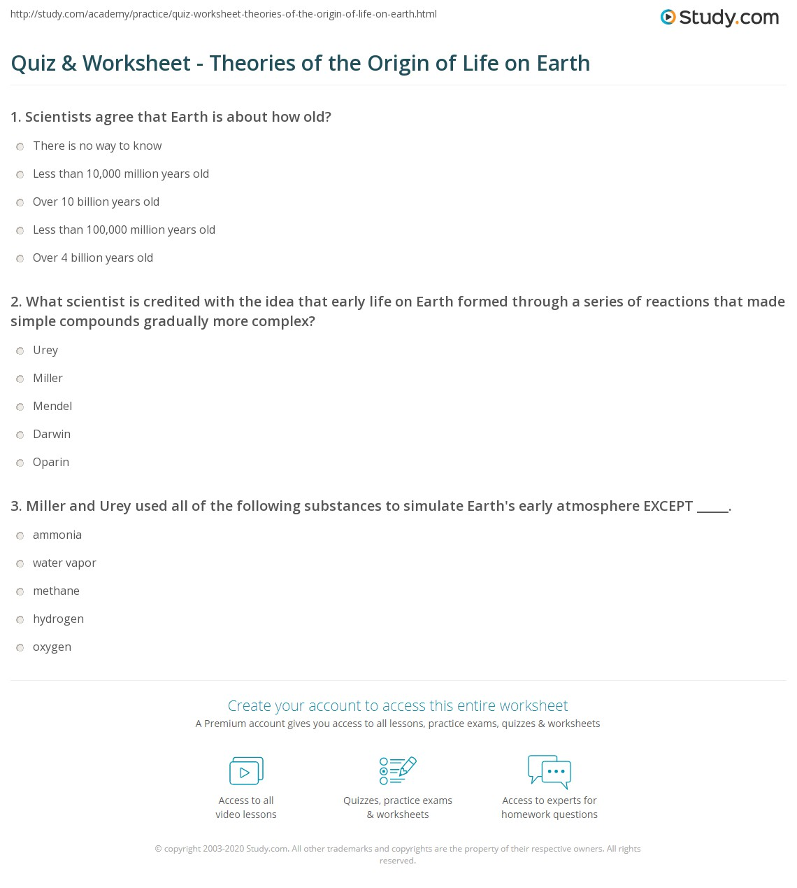 Quiz & Worksheet - Theories of the Origin of Life on Earth | Study.com