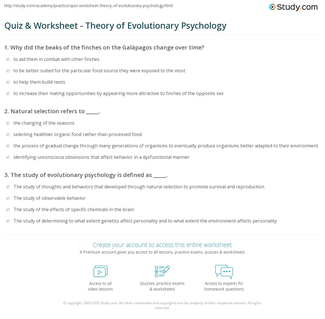 Quiz Worksheet Theory of Evolutionary Psychology – Evolution Worksheet