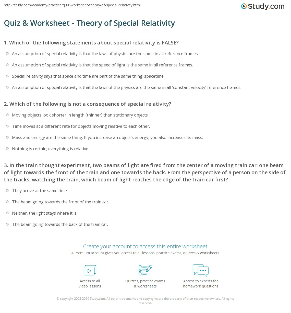 Quiz Worksheet Theory of Special Relativity – Conceptual Physics Worksheets