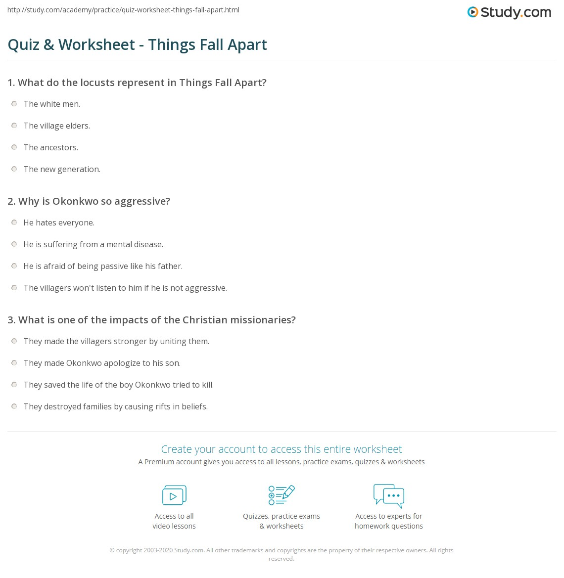 quiz worksheet things fall apart com print things fall apart by chinua achebe summary analysis worksheet