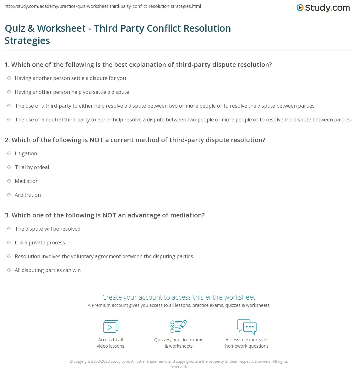 Quiz Worksheet Third Party Conflict Resolution Strategies – Conflict Resolution Worksheet