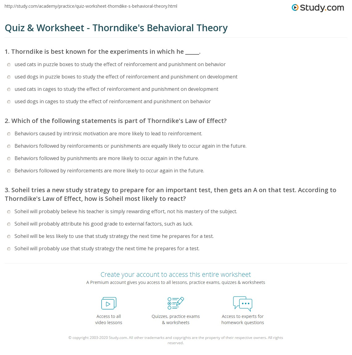 worksheet Classical Conditioning Worksheet quiz worksheet thorndikes behavioral theory study com print thorndike and the law of effect worksheet