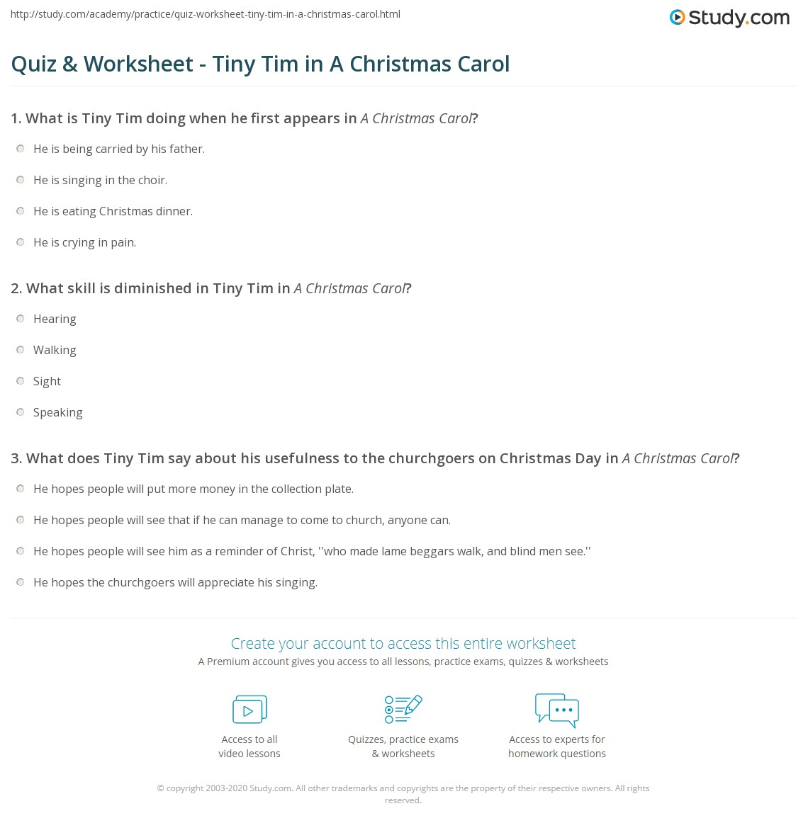 Tiny Tim A Christmas Carol: Quiz & Worksheet - Tiny Tim In A Christmas Carol
