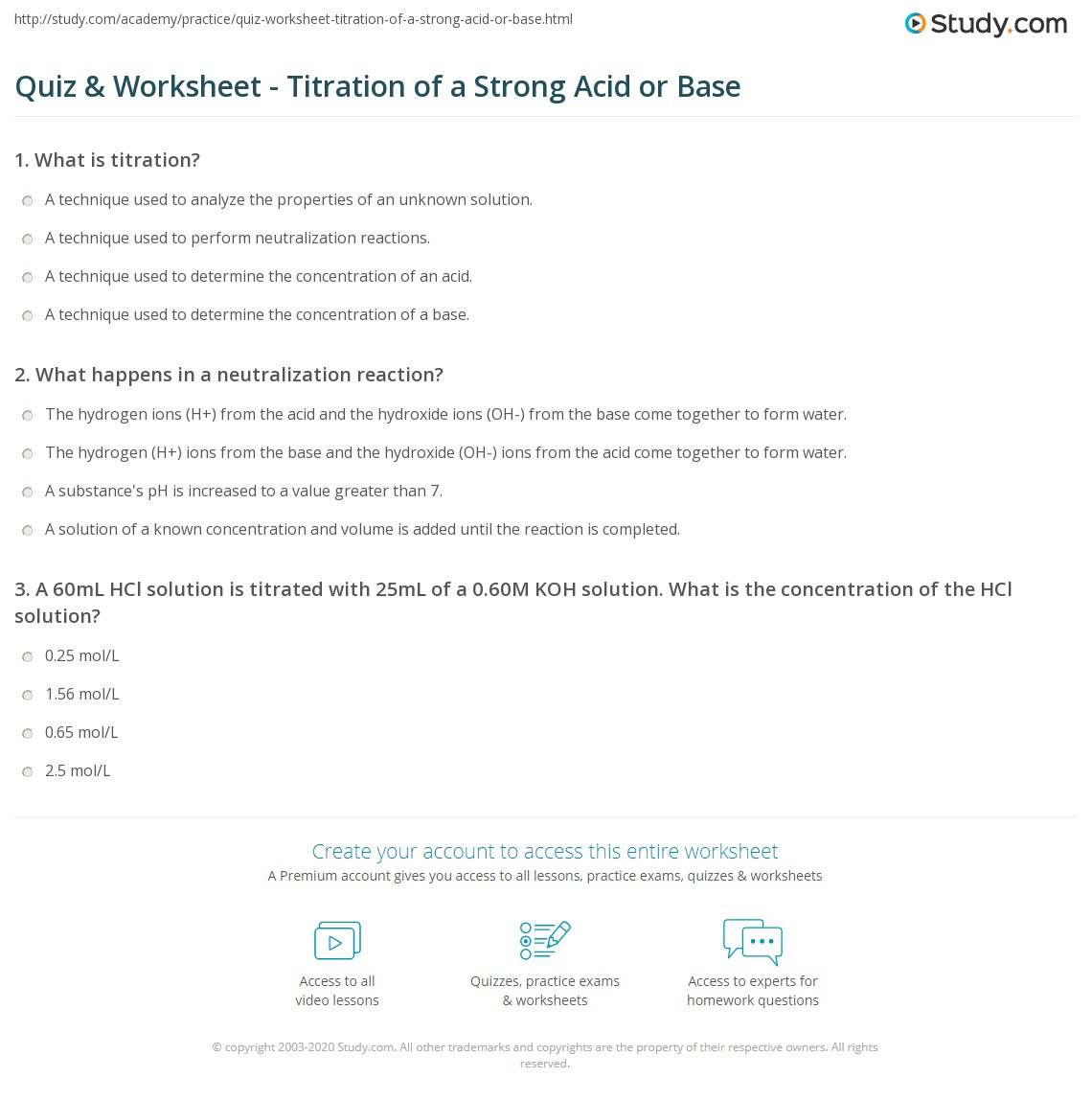 Quiz Worksheet Titration of a Strong Acid or Base – Acid Base Titration Worksheet