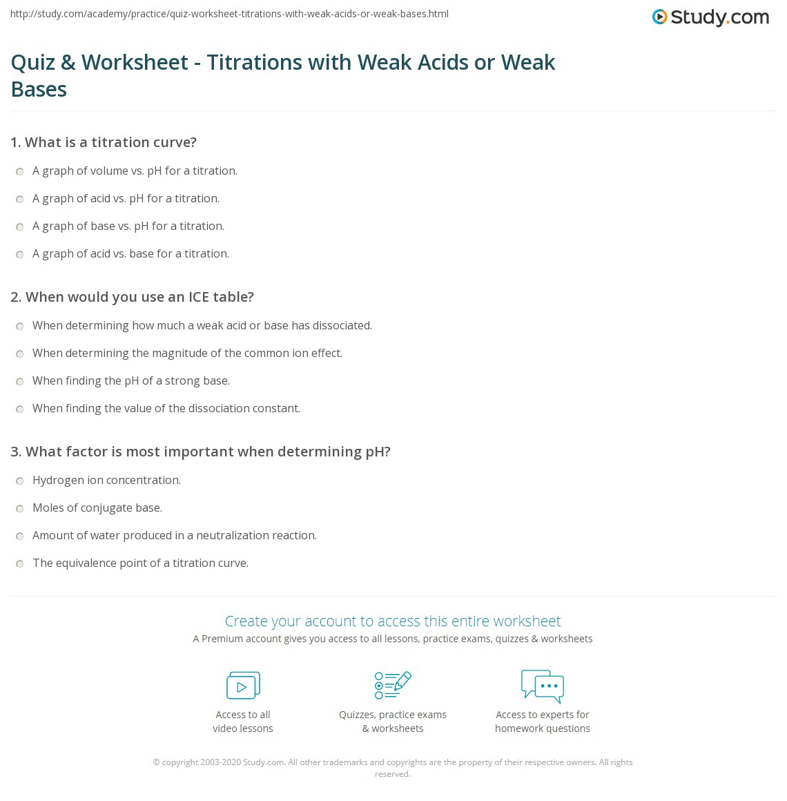 Quiz Worksheet Titrations with Weak Acids or Weak Bases – Titrations Worksheet