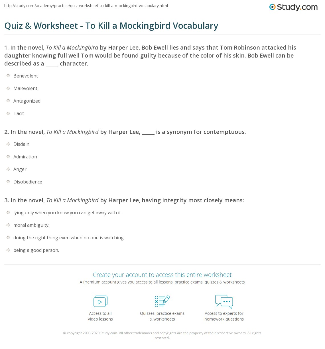 {Quiz Worksheet To Kill a Mockingbird Vocabulary – To Kill a Mockingbird Vocabulary Worksheet