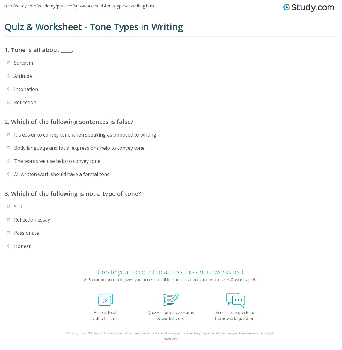 quiz worksheet tone types in writing com print different types of tones in writing worksheet