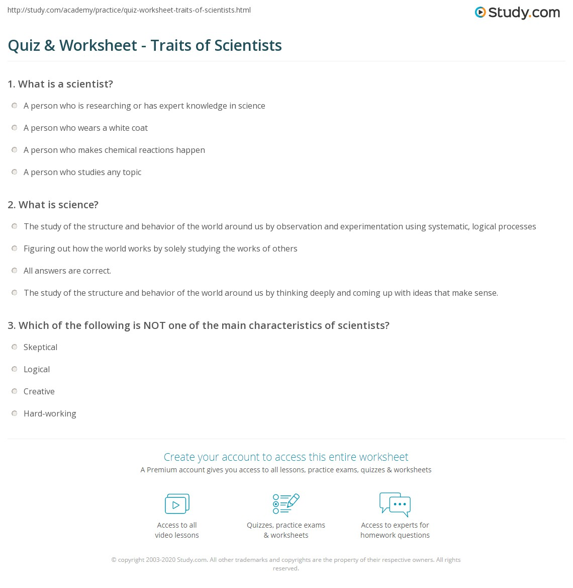Uncategorized What Is Science Worksheet quiz worksheet traits of scientists study com print important characteristics worksheet