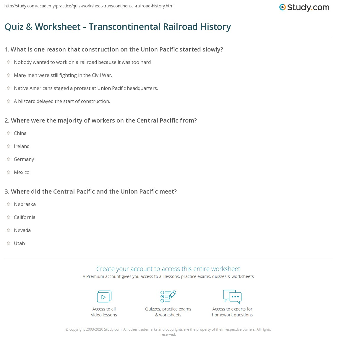 Quiz Worksheet Transcontinental Railroad History – Construction Math Worksheets