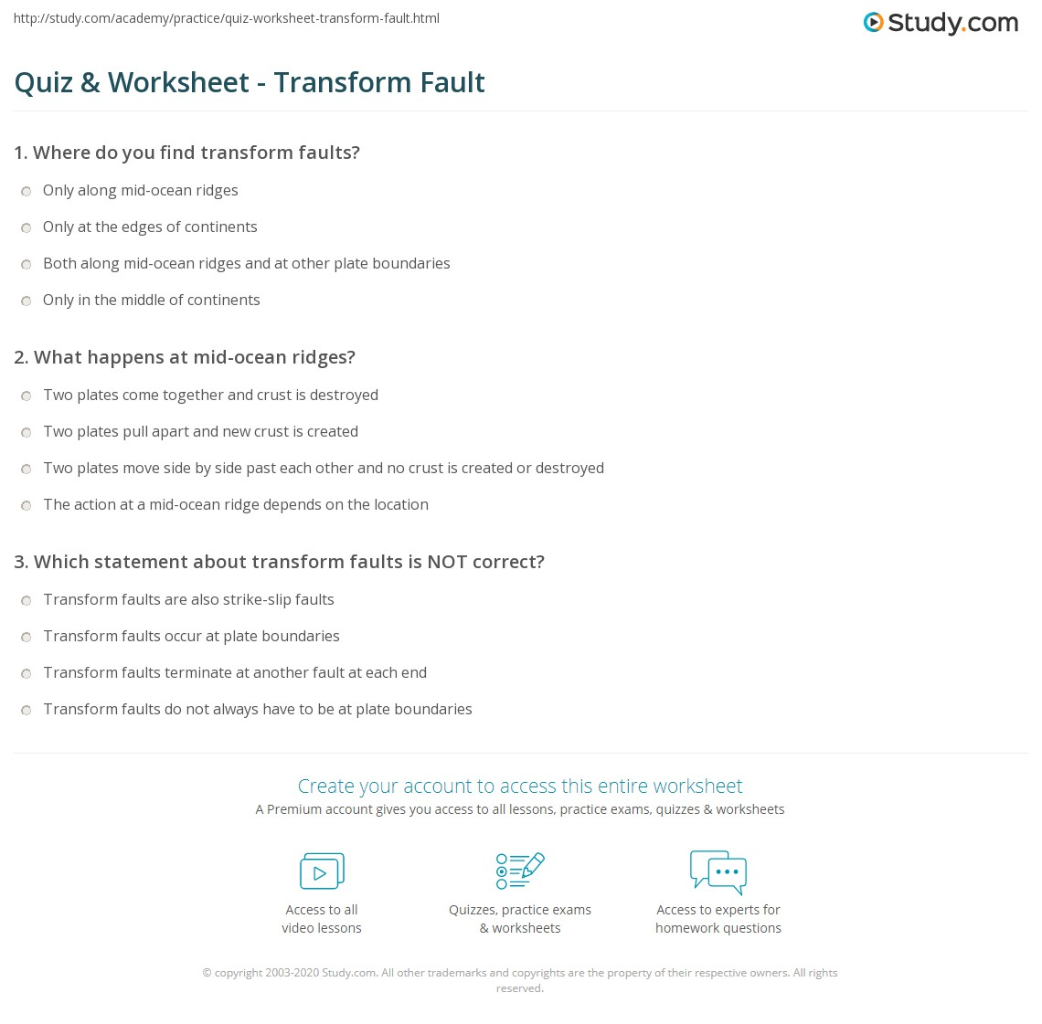 Quiz Worksheet Transform Fault – Plate Boundaries Worksheet Answers