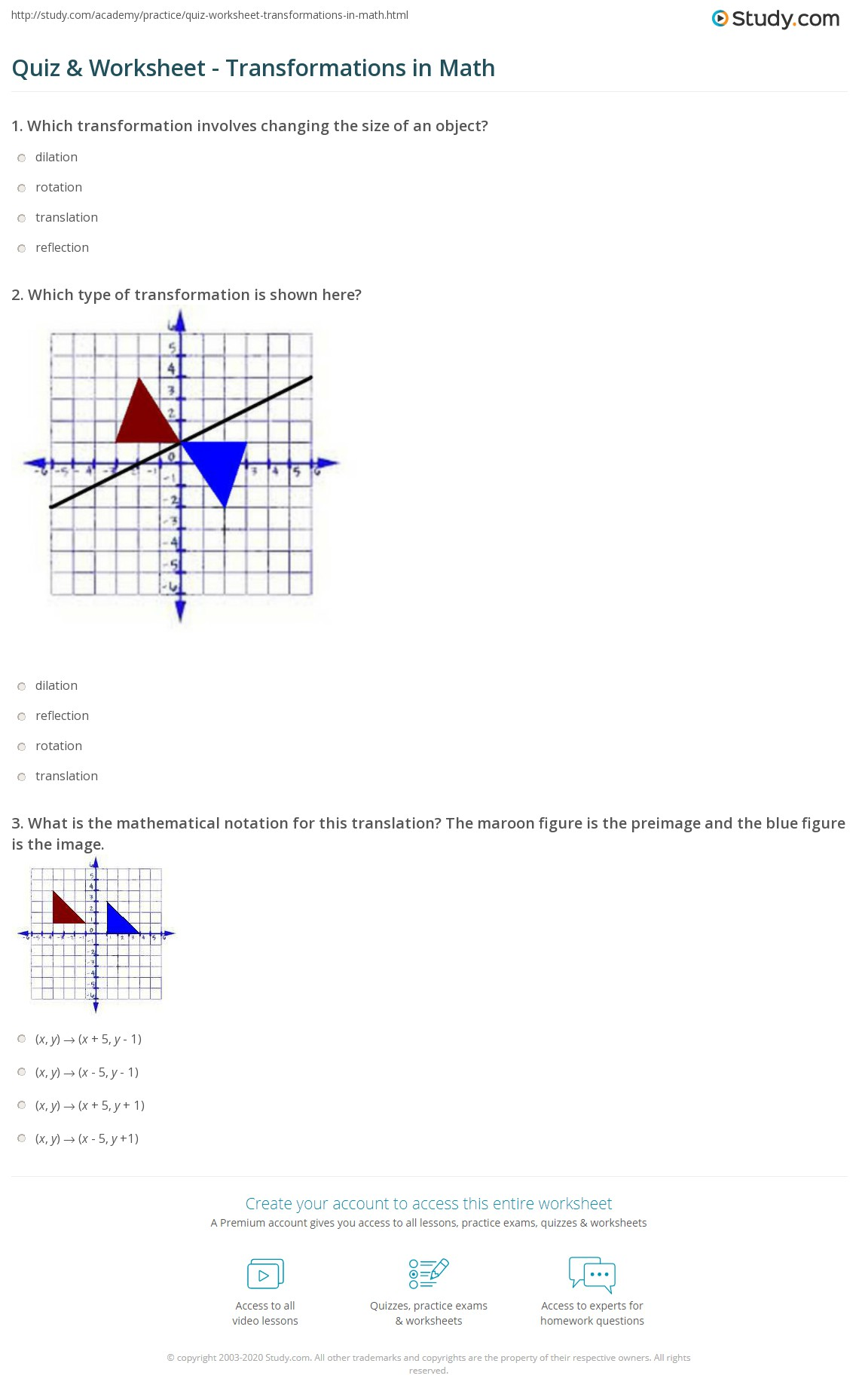 Quiz and Worksheet Transformations in Math – Translation Math Worksheets