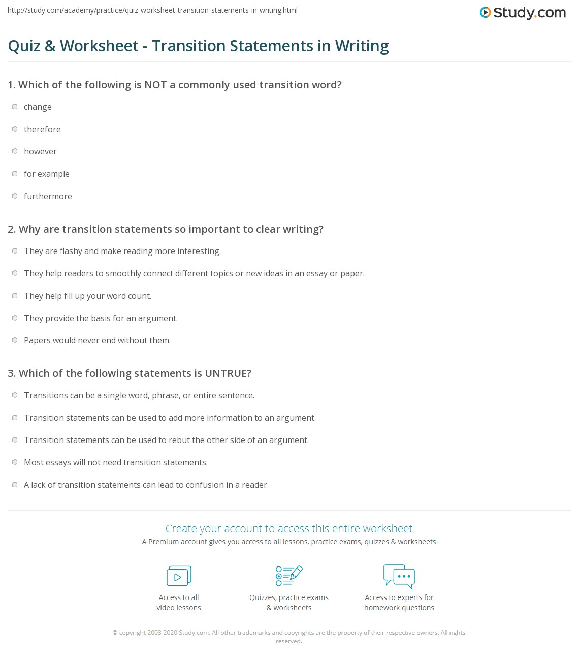 Quiz & Worksheet - Transition Statements in Writing | Study.com