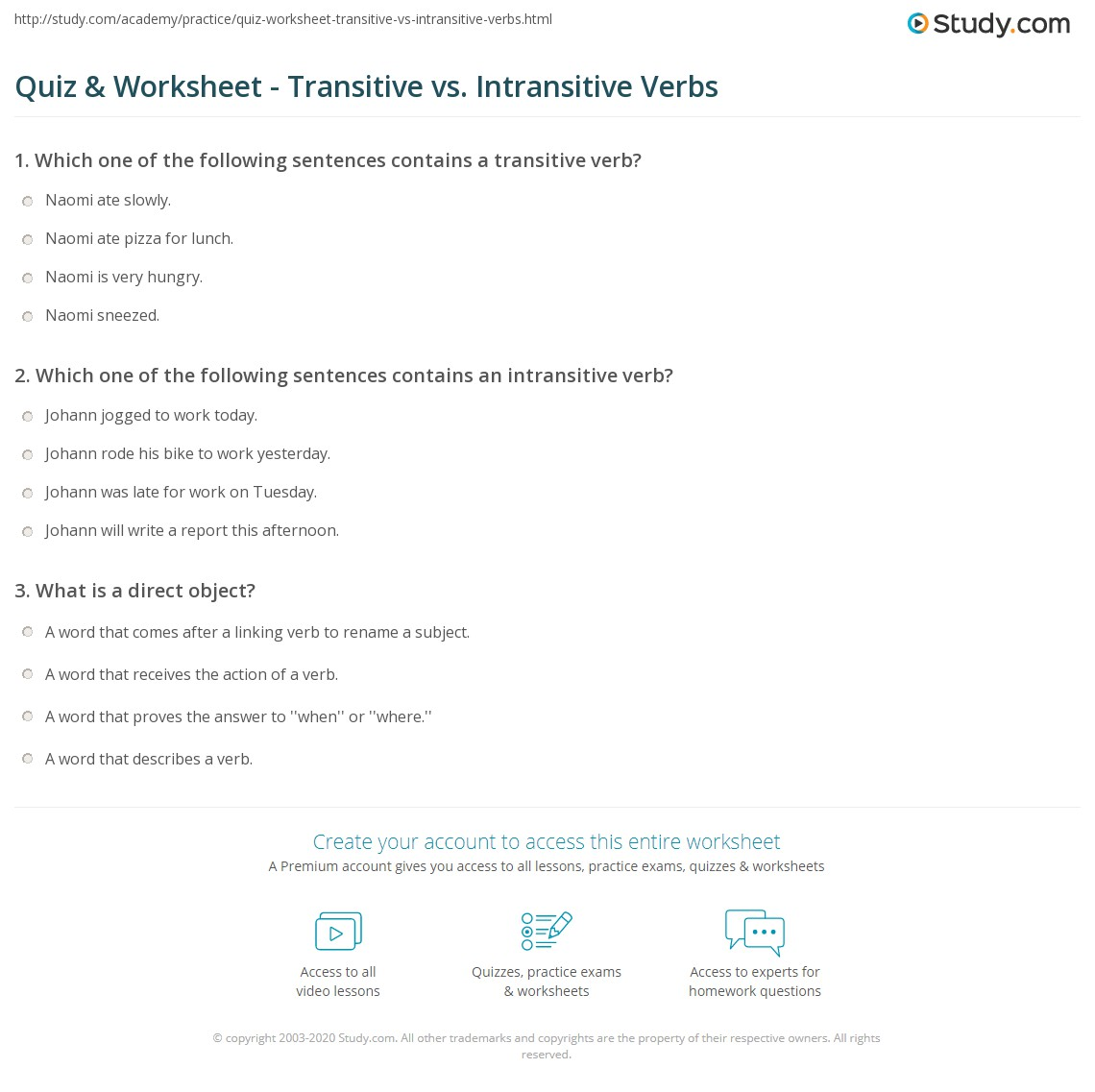 Quiz Worksheet Transitive vs Intransitive Verbs – Transitive and Intransitive Verbs Worksheet