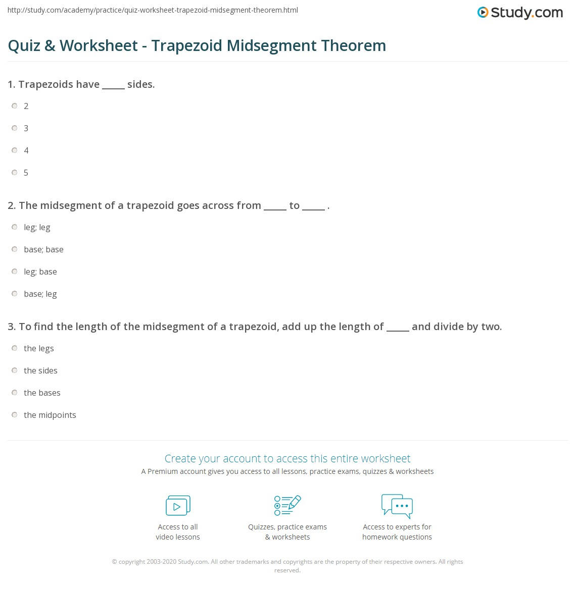 Print Using The Trapezoid Midsegment Theorem Worksheet Quiz & Worksheet  Trapezoid Midsegment Theorem Study