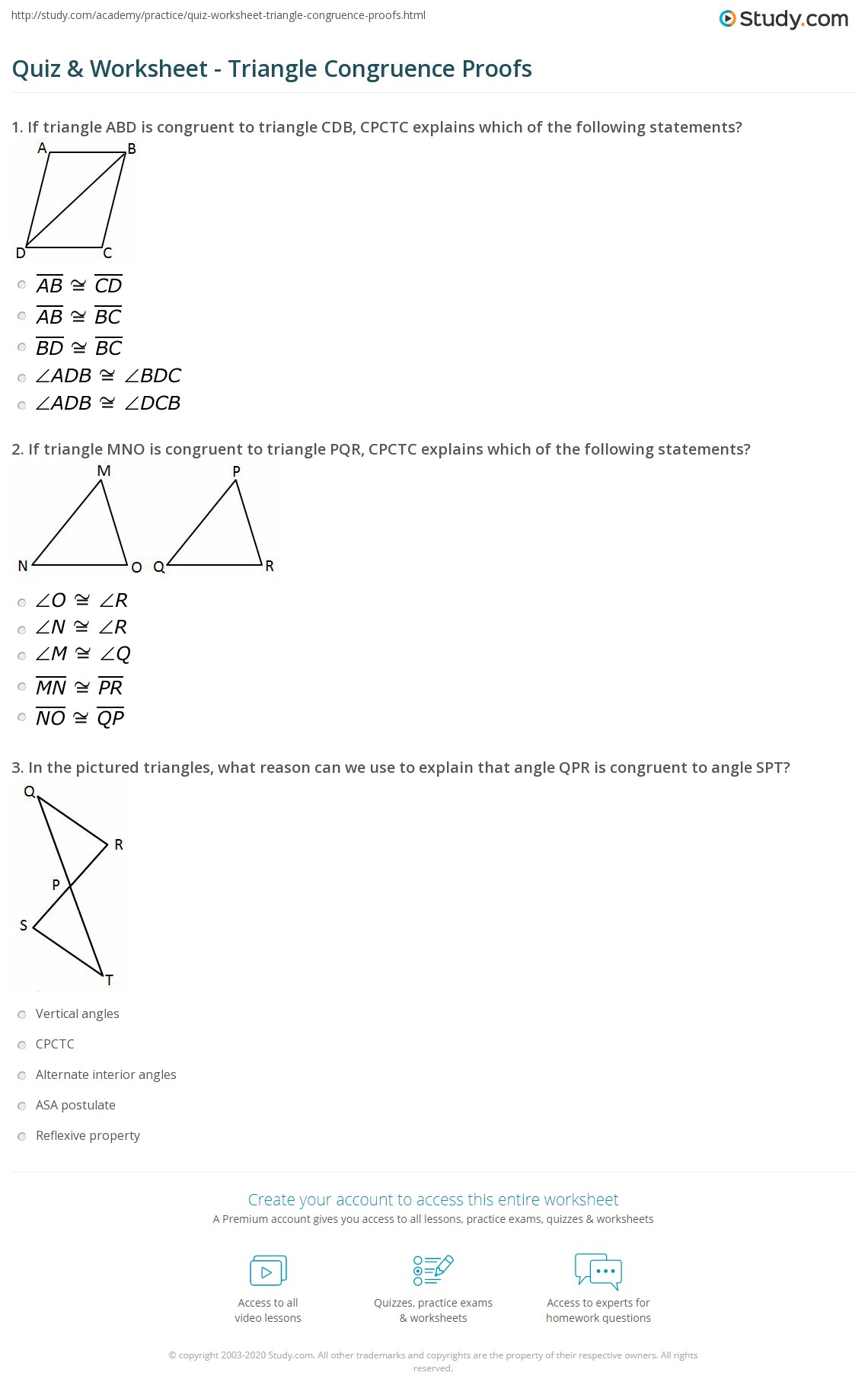 Quiz Worksheet Triangle Congruence Proofs – Geometry Worksheet Congruent Triangles Answers