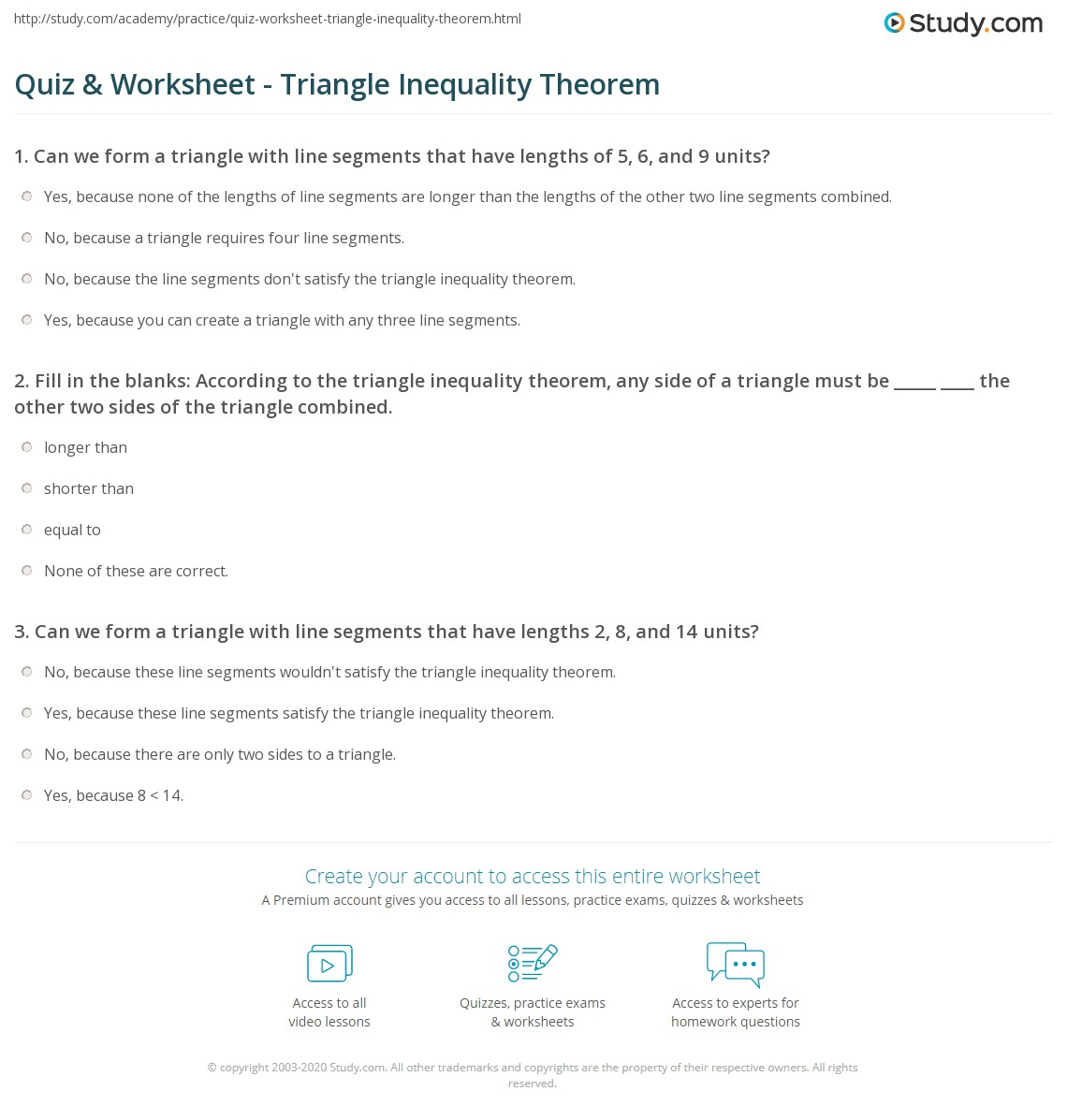 Quiz Worksheet Triangle Inequality Theorem – Triangle Proofs Worksheet