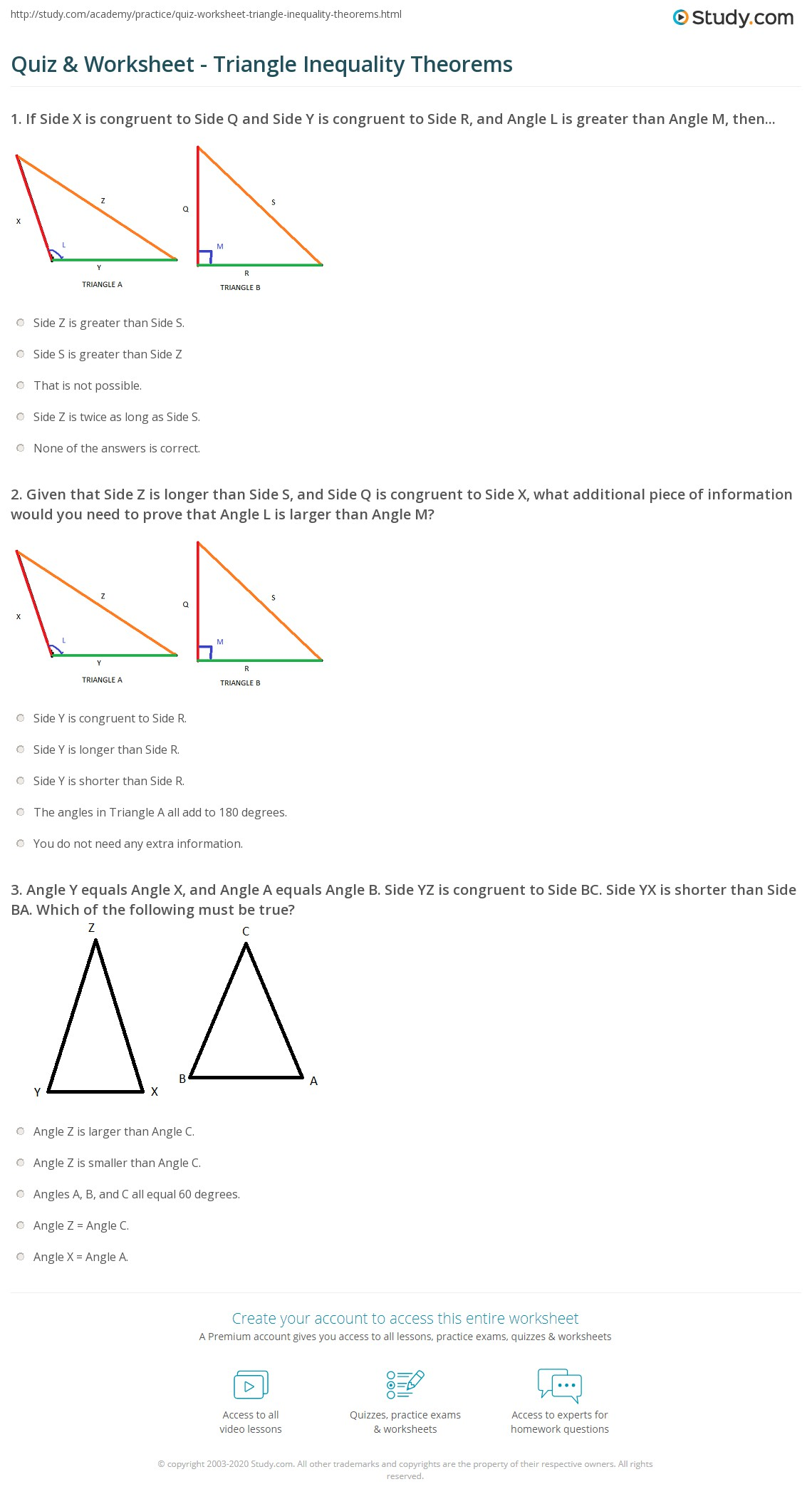 Quiz Worksheet Triangle Inequality Theorems – Triangle Inequalities Worksheet