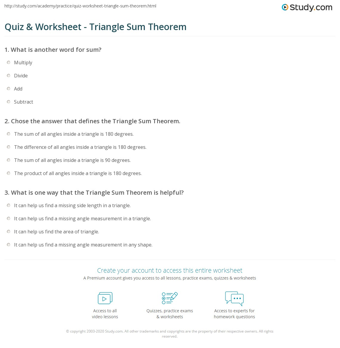 Free Worksheet Alternate Interior Angles Worksheet worksheet triangle sum theorem joindesignseattle quiz study com print definition examples worksheet