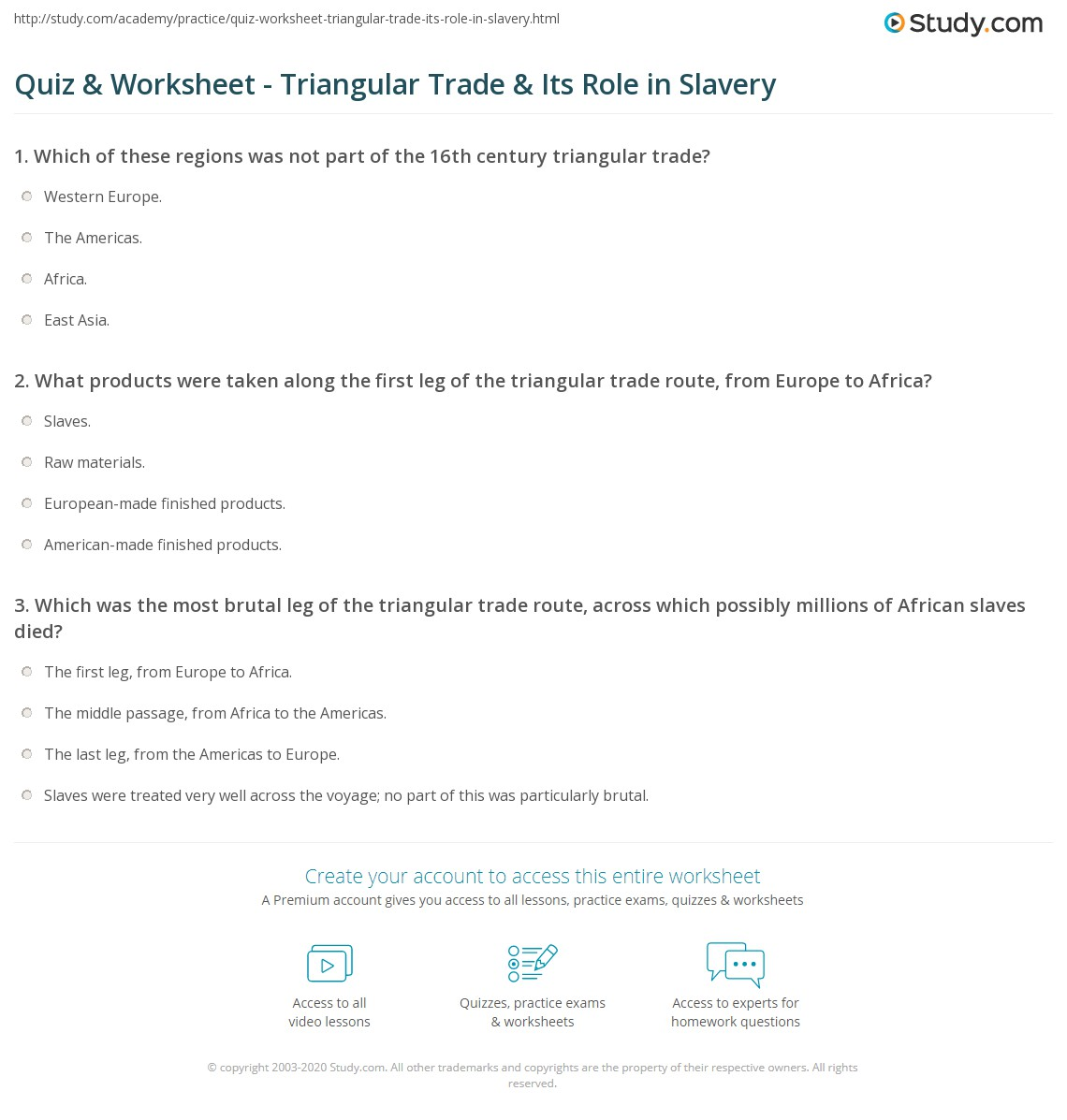 Printables Triangular Trade Worksheet quiz worksheet triangular trade its role in slavery study com print route system worksheet