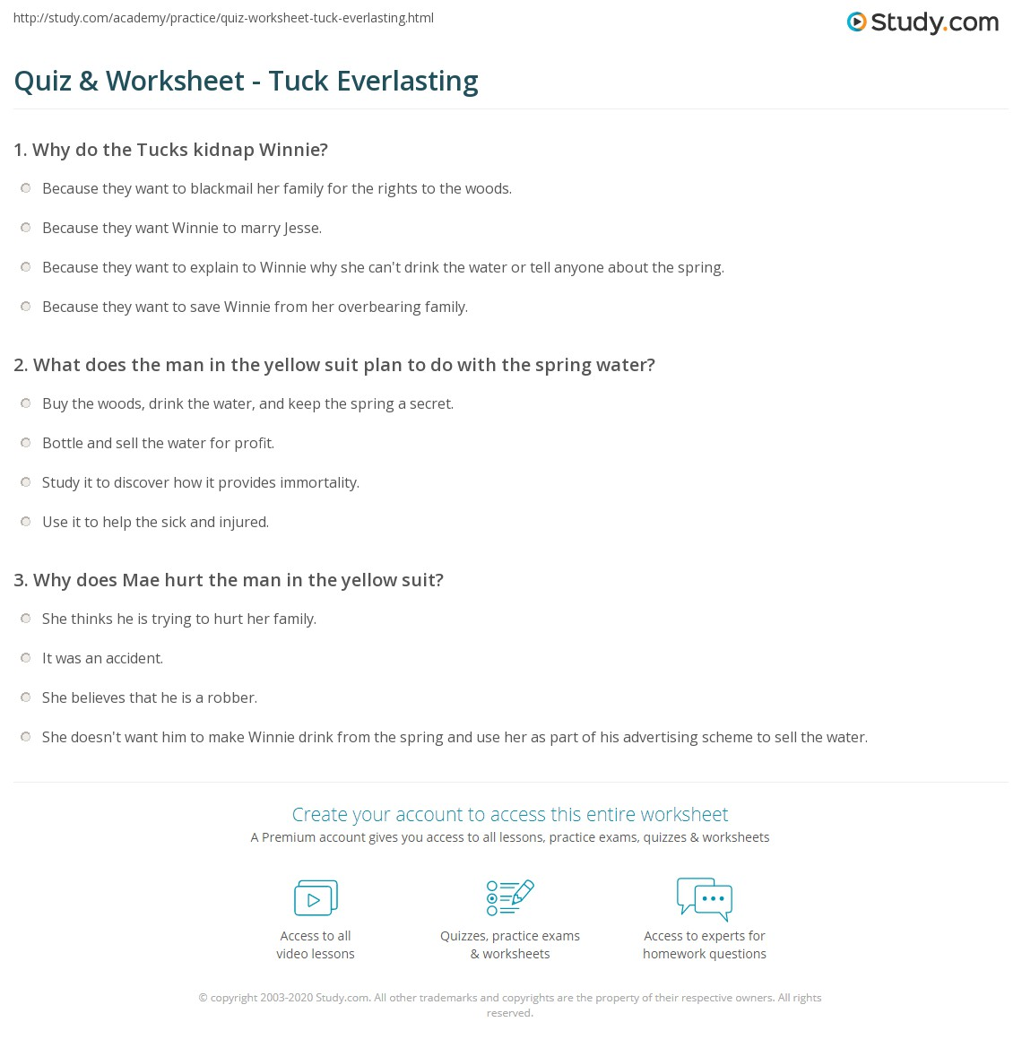 quiz worksheet tuck everlasting com print tuck everlasting summary characters author worksheet