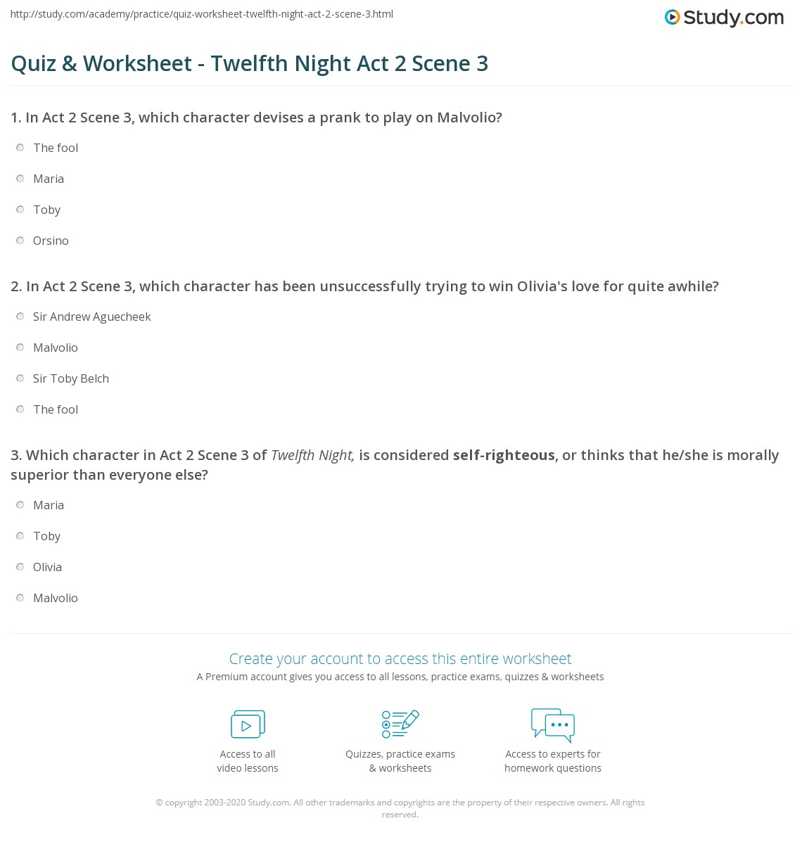 quiz worksheet twelfth night act scene com print twelfth night act 2 scene 3 summary analysis worksheet
