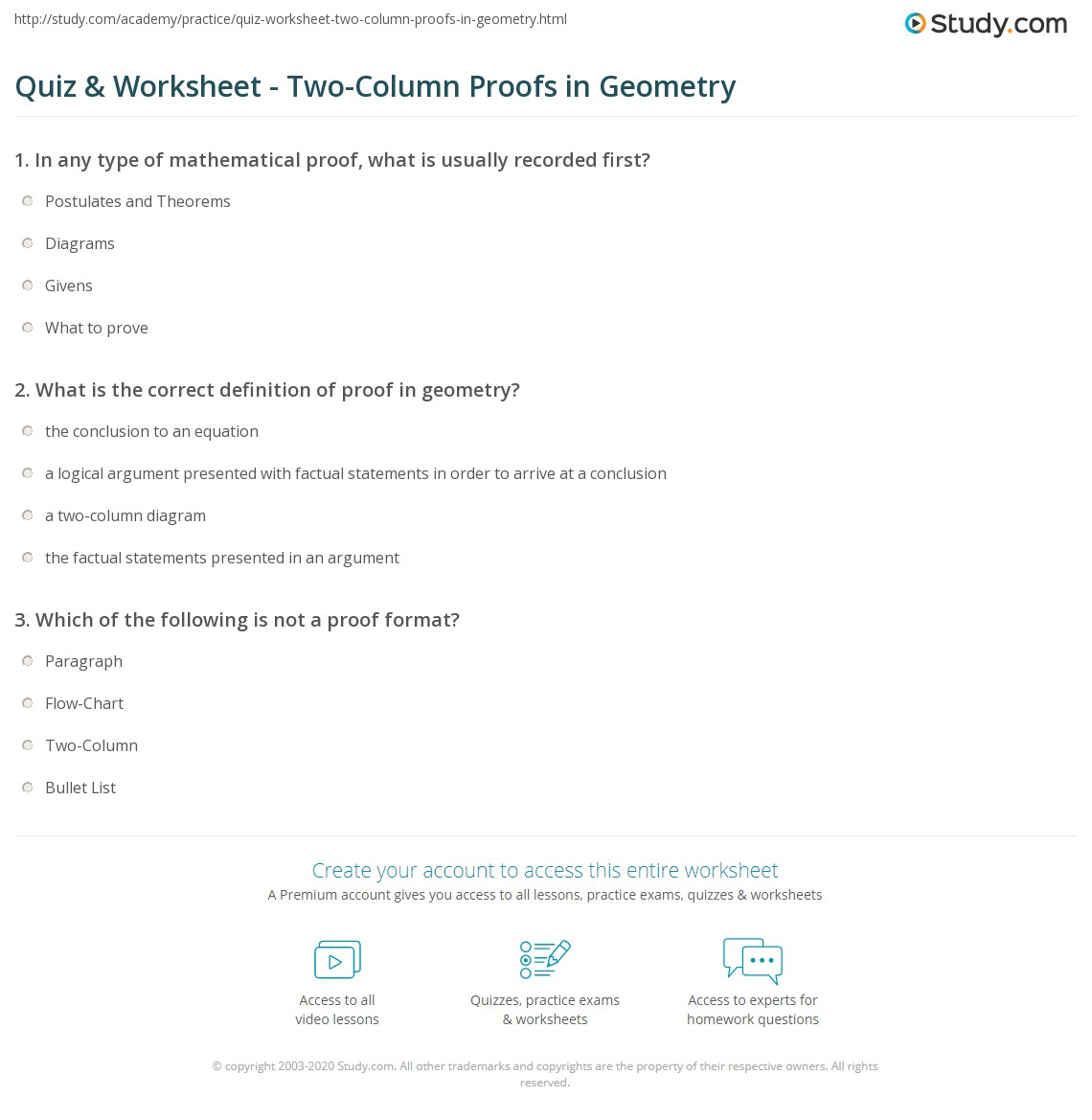 Quiz Worksheet TwoColumn Proofs in Geometry – Geometry Proofs Worksheets with Answers