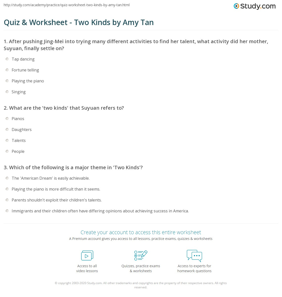 quiz worksheet two kinds by amy tan com print two kinds by amy tan theme analysis worksheet