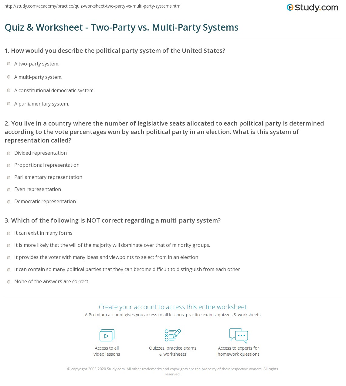Quiz Worksheet TwoParty vs MultiParty Systems – Worksheet Comparing American Political Parties