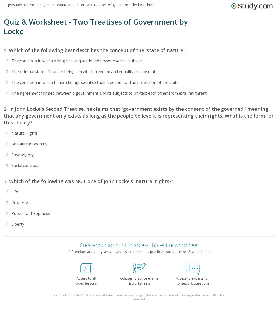 Worksheets Declaration Of Independence Worksheets quiz worksheet two treatises of government by locke study com 1 in john lockes second treatise he claims that exists the consent governed meaning any government
