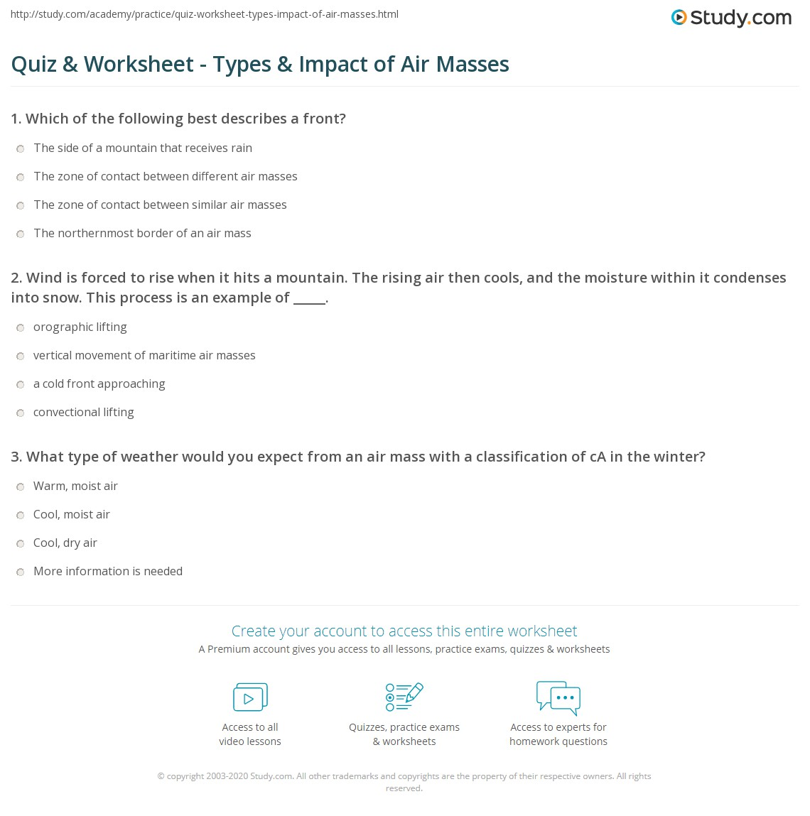 Quiz Worksheet Types Impact of Air Masses – Air Masses Worksheet