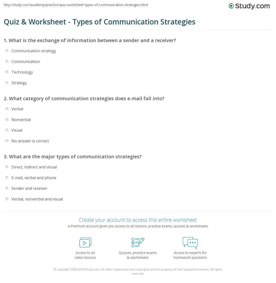 quiz worksheet types of communication strategies study com print what are communication strategies definition types examples worksheet