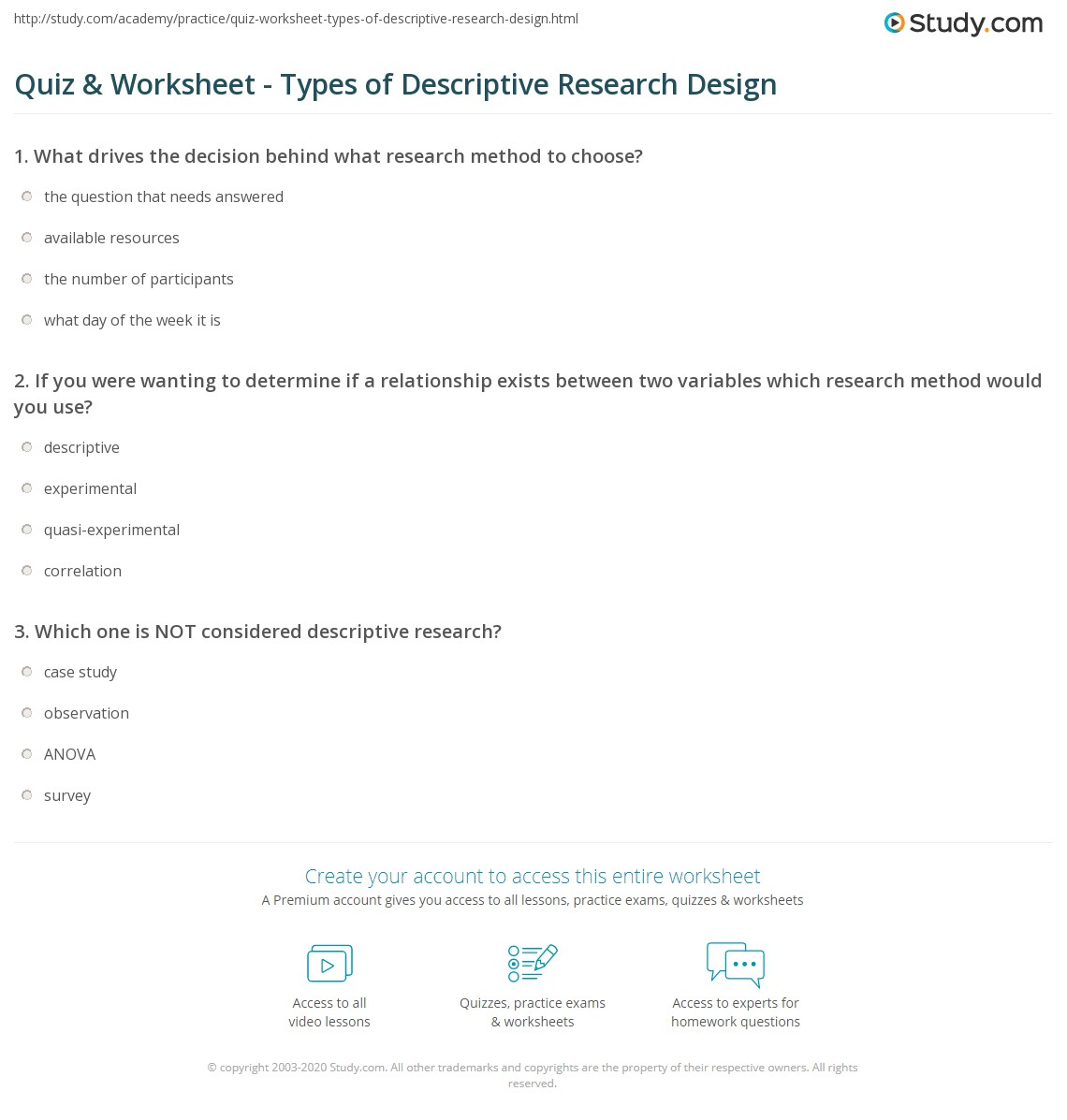 Quiz amp Worksheet Types Of Descriptive Research Design Studycom Quiz Worksheet Types Of Descriptive Research Design Quiz Worksheet Types Of Descriptive Research Design