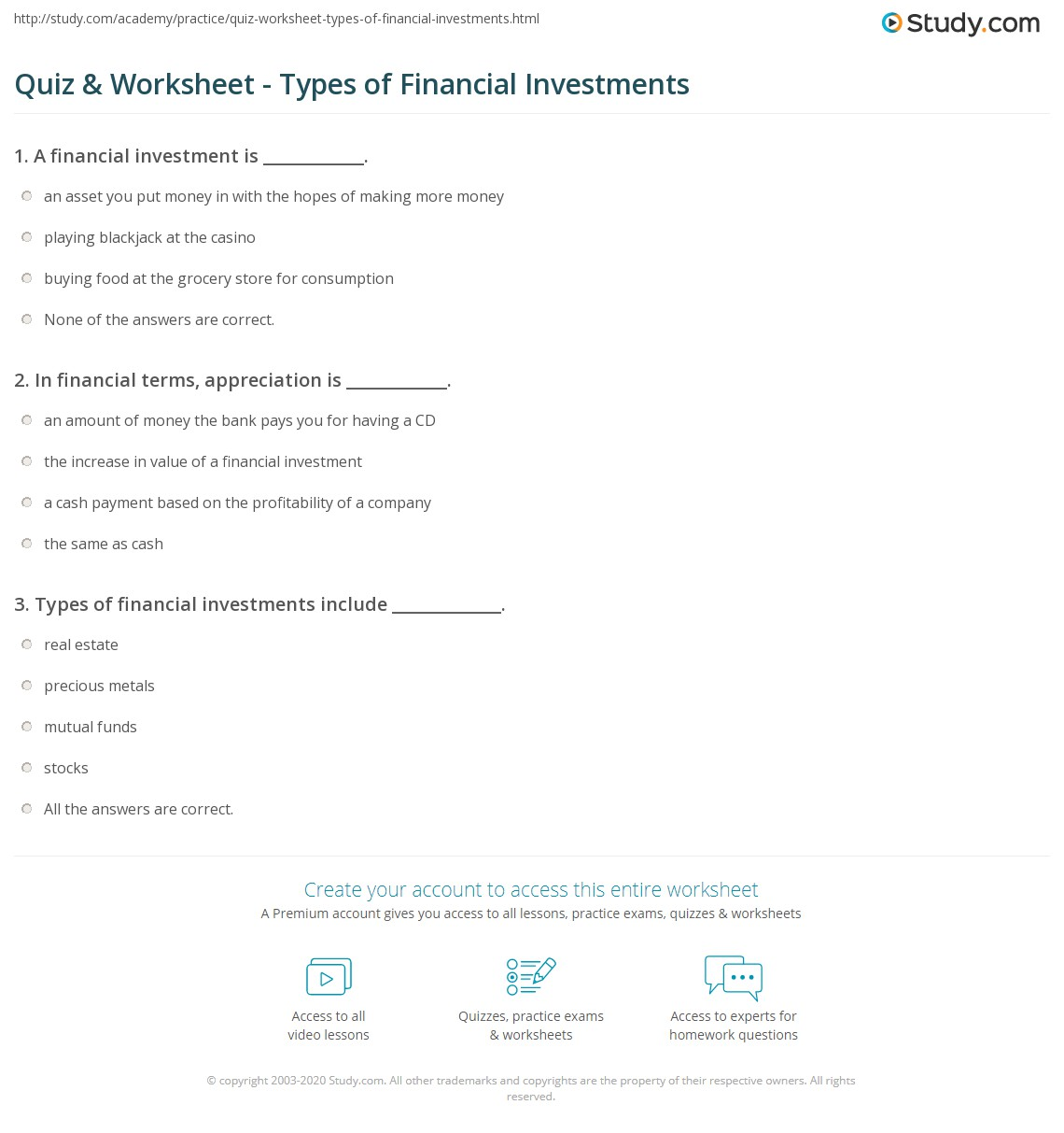 Worksheets Investment Worksheet quiz worksheet types of financial investments study com print what is a investment definition examples worksheet