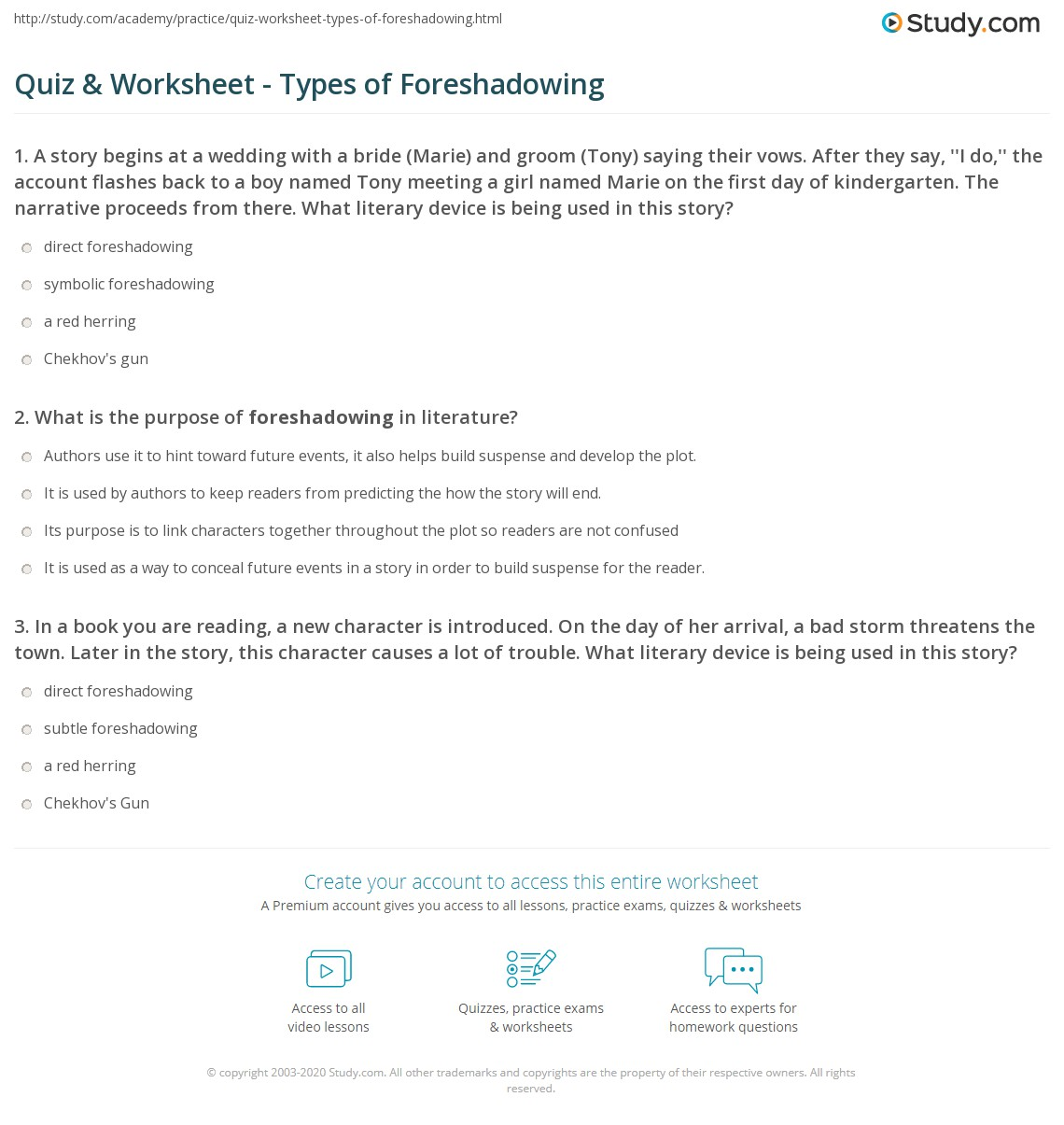 {Quiz Worksheet Types of Foreshadowing – Foreshadowing Worksheet
