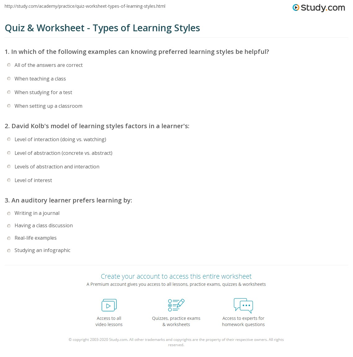 Quiz & Worksheet - Types of Learning Styles | Study.com