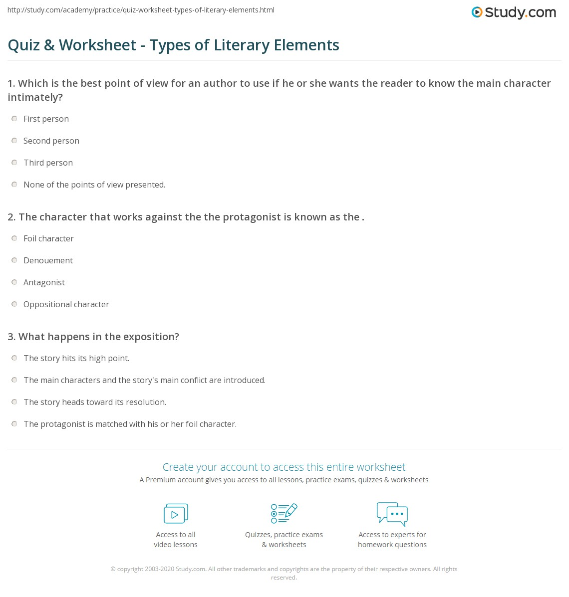 Quiz Worksheet Types of Literary Elements – Elements of Fiction Worksheet