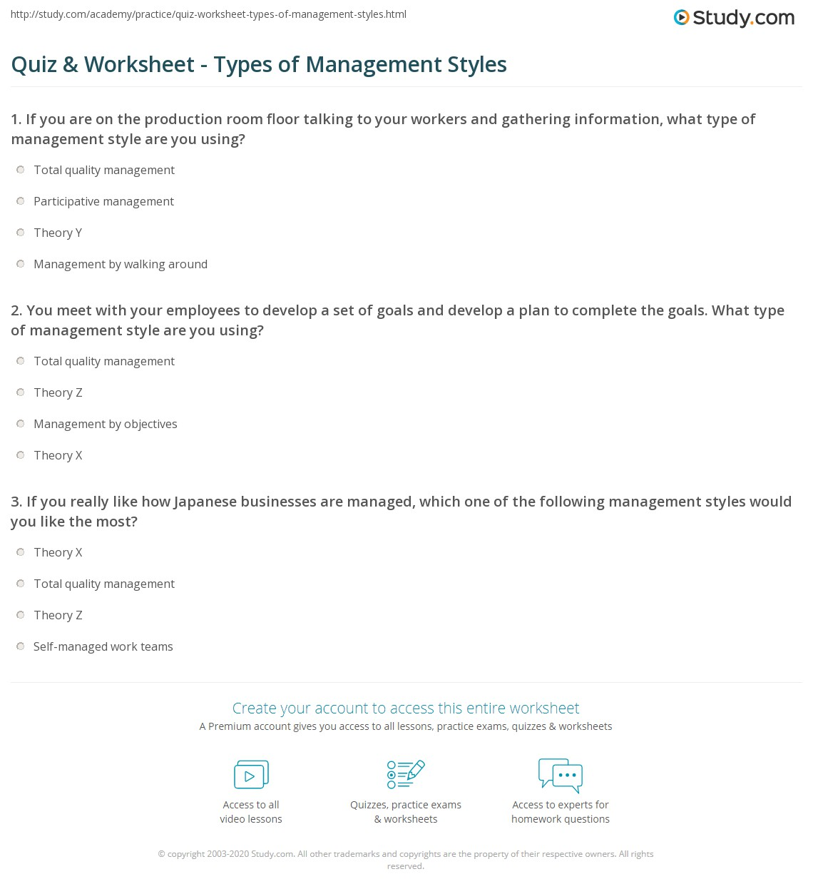 quiz worksheet types of management styles com you meet your employees to develop a set of goals and develop a plan to complete the goals what type of management style are you using