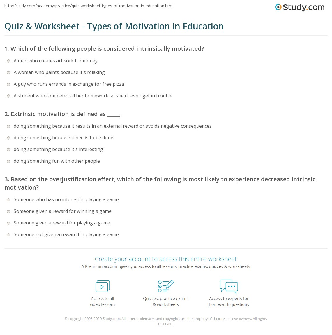 quiz worksheet types of motivation in education com print intrinsic and extrinsic motivation in education definition examples worksheet