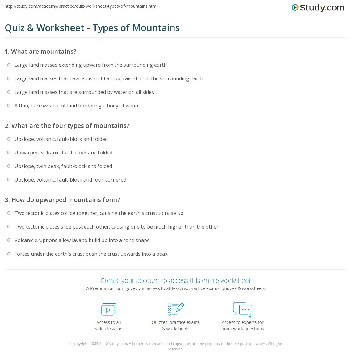 Quiz Worksheet Types of Mountains – Types of Faults Worksheet