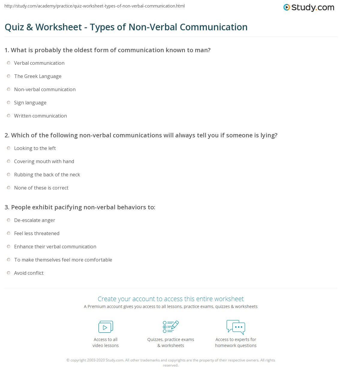 Quiz Worksheet Types of NonVerbal Communication – Communication Worksheets for Adults